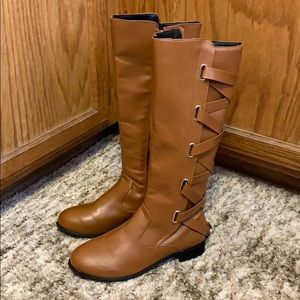 LACE UP RIDDING BOOTS, US 9/10, Tan